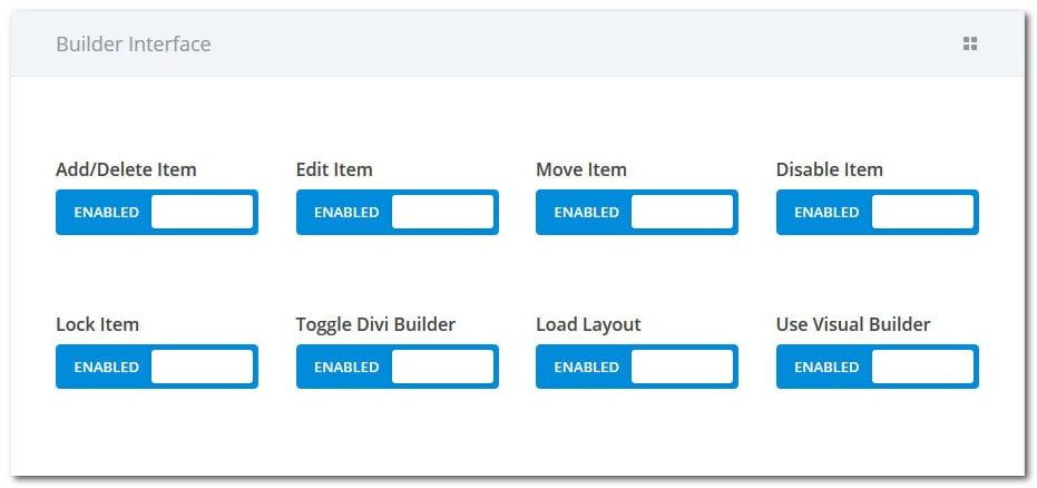 Редактор ролей Divi - Builder Interface