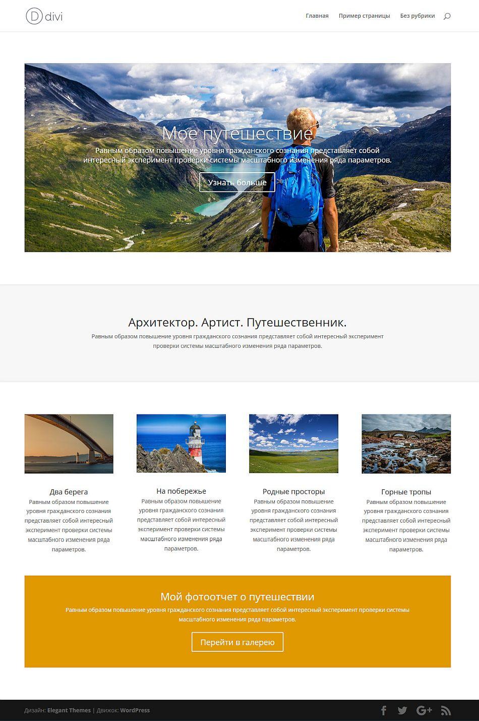 Сайт из готового макета Divi