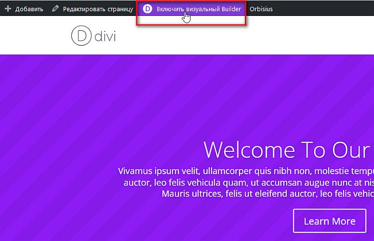 Использование Visual Divi Builder