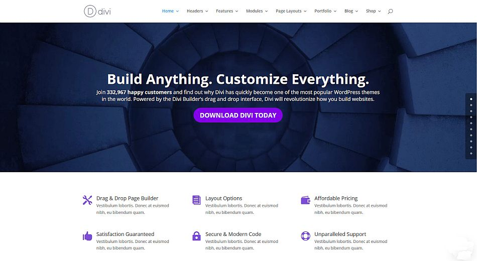 Divi demo sections