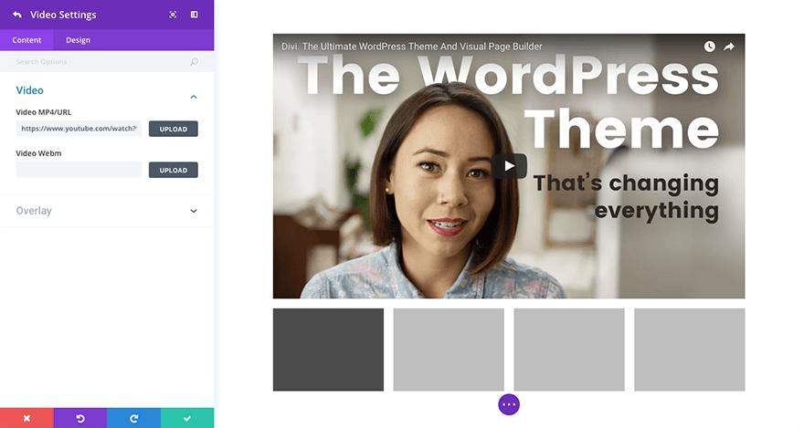 Загрузка контента в Видеослайдер Диви